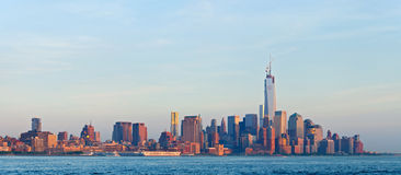 New York City, Manhattan buildings view. New York City, skyline panorama of lower downtown Manhattan business district Royalty Free Stock Images