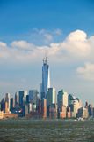 New York City, Manhattan buildings view. New York City, skyline panorama of lower downtown Manhattan business district Stock Photos