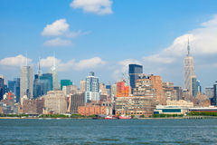 New York City, Manhattan buildings view. New York City, skyline panorama of lower downtown Manhattan business district Stock Image