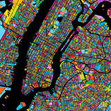 New York City Manhattan Colorful Map on Black. Printable outline Version, ready for color change, Artprint Stock Images