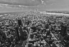 New York city. Manhattan downtown aerial view with urban city skyline and skyscrapers buildings in black and white Stock Image
