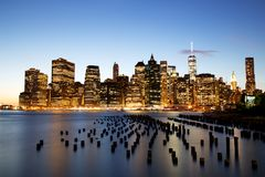 New York City Manhattan Downtown at dusk Royalty Free Stock Photos