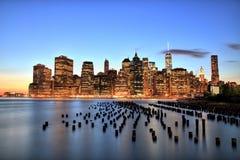 New York City Manhattan Downtown at dusk Stock Image