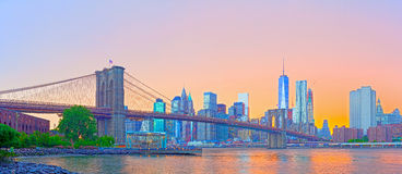 New York City, Manhattan downtown panorama Royalty Free Stock Photography