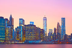New York City, Manhattan downtown panorama Stock Image