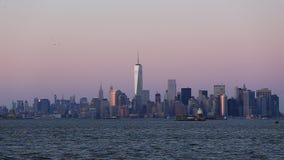 New York City Manhattan downtown skyline stock video