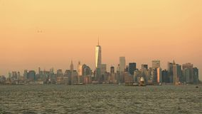New York City Manhattan downtown skyline stock video footage