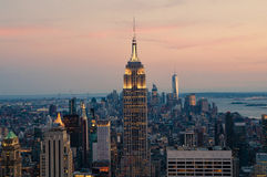 New York City. Manhattan downtown skyline at dusk Stock Images