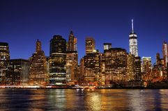New York City Manhattan downtown skyline at night Stock Photos