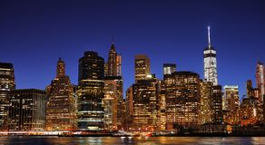New York City Manhattan downtown skyline at night Royalty Free Stock Photography