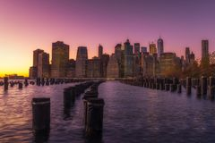 New York city view from waterfront royalty free stock photography