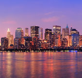 New York City Manhattan dusk panorama Royalty Free Stock Image