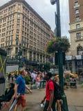 New York City, Manhattan, Estados Unidos - em julho de 2018 ruas, construção e pessoa de Manhattan fotos de stock