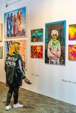 New York City Manhattan, Förenta staterna - April 7, 2019 Artexpo New York, modern och samtida konstshow, pir 90 NYC royaltyfria foton