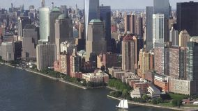 New York City, Manhattan Financial District, NYC. Stock video of a city aerial. Hudson River