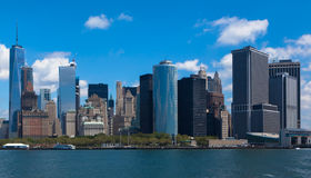 The New York City Manhattan Financial District. View from the Staten Island ferry Royalty Free Stock Photo