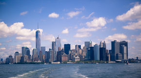 The New York City Manhattan Financial District. View from the Staten Island ferry Stock Photos