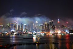 New York City Manhattan after fireworks show Royalty Free Stock Photo