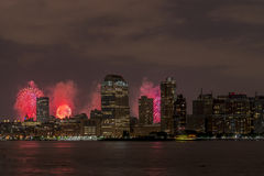 New York City Manhattan July 4th. Syline of New York City Manhattan on July 4th fireworks celebration 2015 Royalty Free Stock Photography