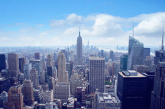 New York City Manhattan midtown aerial panorama Royalty Free Stock Images
