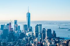 New York City Manhattan midtown aerial panorama view with skyscr Stock Images