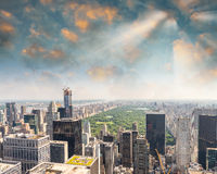New York City Manhattan midtown aerial panorama view with skyscr Stock Photography