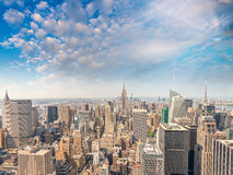 New York City Manhattan midtown aerial panorama view with skyscr Royalty Free Stock Photography