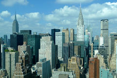 New York City Manhattan midtown aerial panorama view with skyscrapers and blue sky in the day. Stock Photo