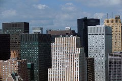 New York City Manhattan midtown aerial panorama view with skyscrapers and blue sky in the day. Stock Image