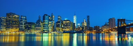 New York City Manhattan midtown at dusk Royalty Free Stock Images
