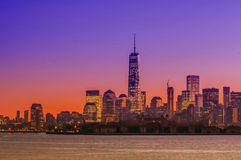 New York City Manhattan midtown panorama at dusk with skyscraper Royalty Free Stock Images