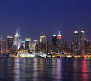 New York City Manhattan midtown skyline at dusk Stock Images