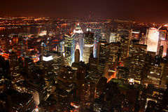 New York City / Manhattan at n. New York City / Manhattan city scape at night scenic (Aerial View stock photography