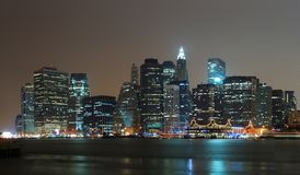 New York City Manhattan night scene panorama Royalty Free Stock Images