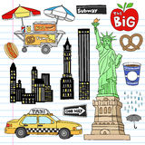 New York City Manhattan Notebook Doodle Vector Set. New York City Manhattan Notebook Doodle Design Elements Set on Lined Sketchbook Paper Background- Hand Drawn Royalty Free Stock Photos