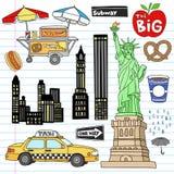New York City Manhattan Notebook Doodle Vector Set. New York City Manhattan Notebook Doodle Design Elements Set on Lined Sketchbook Paper Background- Hand Drawn royalty free illustration