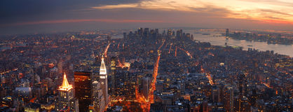 New York City Manhattan panorama. Aerial view with skyline at sunset Stock Photo