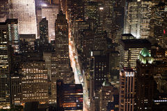 New York City Manhattan  panorama. Aerial view at night with office building skyscrapers skyline Royalty Free Stock Image