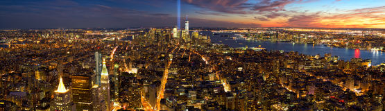 New York City Manhattan panorama. With light beams in memory of September 11 Stock Image
