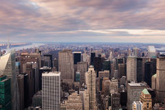 New York City -  Manhattan skyline aerial view at sunset Royalty Free Stock Images