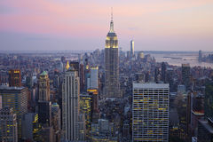 New York City Manhattan. New York City skyline aerial view at sunset - USA Royalty Free Stock Photography