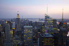 New York City Manhattan. New York City skyline aerial view at sunset - USA Royalty Free Stock Photos