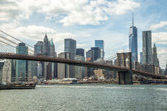 New York City manhattan skyline Brooklyn Bridge Royalty Free Stock Image