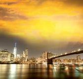 New York City Manhattan skyline panorama with Brooklyn Bridge an royalty free stock photo