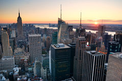 New York City Manhattan skyline sunset Royalty Free Stock Photo