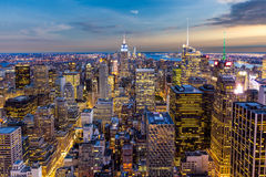 New York City Manhattan Skyline at sunset Royalty Free Stock Image