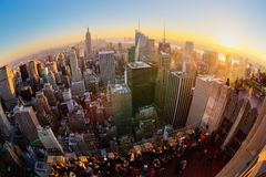 New York City Manhattan skyline in sunset. Royalty Free Stock Images