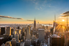 New York City Manhattan skyline at sunset, view from Top of the Rock, Rockfeller Center, United States stock photos