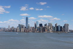New York City Manhattan Skyline. View of New York City Downtown Manhattan Skyline from the Statue of Liberty. Big City Skyline. The Big Apple, Freedom Tower Stock Photography