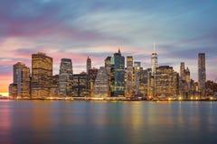 New York City - Manhattan skylines at evening time, great illumi Royalty Free Stock Photos